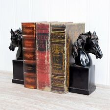 Country Horse Head Bookends, Black Distressed Book Shelf Storage Equestrian