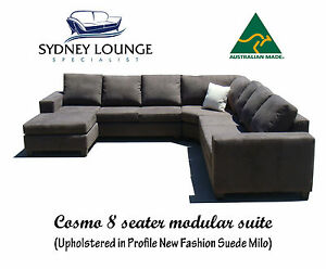 the best attitude 32cb9 9bef3 Details about AUSTRALIAN MADE Cosmo Modular (Suede) 8 seater Corner Lounge  Chaise Sofa