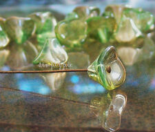 Chrysolite Celsian Three Petal Czech Flower Cup Glass Beads 12