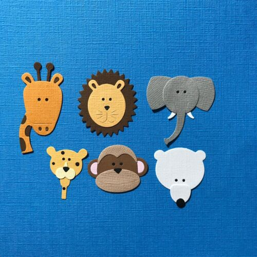 6 ZOO ANIMAL EMBELLISHMENTS DIE CUTS GIRAFFE LION ELEPHANT MONKEY LEOPARD BEAR