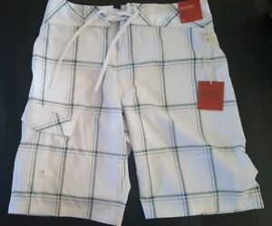0c070d2272 NEW MOSSIMO PLAID SWIM BOARD SHORTS WHITE BELOW KNEE MENS SIZE 30 | eBay
