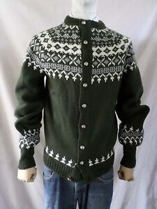 DANNIT green gray cream Fair Isle Norwegian button front cardigan sweater SMALL