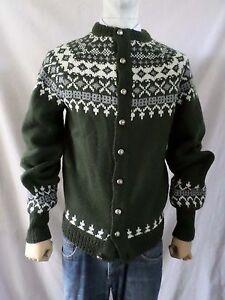DANNIT green gray cream Fair Isle Norwegian button front cardigan sweater SMALL