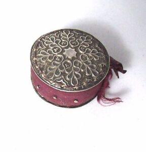 Sterling-Silver-SNOWFLAKE-PIN-cushion-DISC-ORIGINAL-pins-amp-silk-ANTIQUE-c1800-039-s