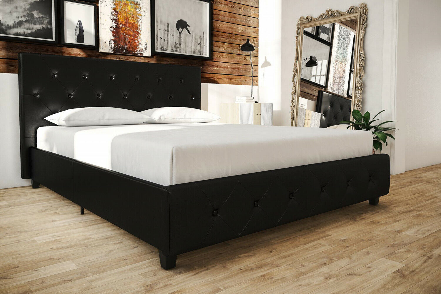 Image of: Dhp Full Size Upholstered Platform Bed Storage Drawers Black Faux Leather New For Sale Online