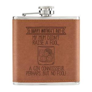 Happy-Fete-des-Meres-Gin-Connaisseur-170ml-Cuir-PU-Hip-Flasque-Fauve-Maman-Drole