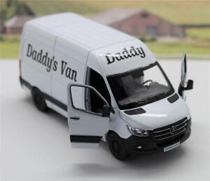 """PERSONALISED """"Daddy's Van"""" WHITE Mercedes Sprinter Van Boys Toy Model Present"""