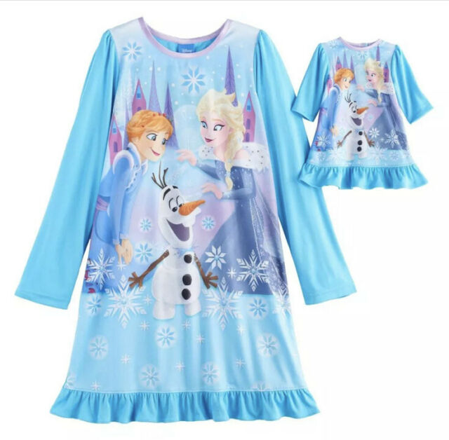 Nwt New Disney Frozen Elsa Anna Nightgown Pajama Strong Heart Doll Toddler Girl