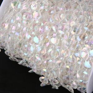 1m-Girlande-Klar-Facettenschliff-Hochzeit-Deko-Perlenvorhang-Strang-Perlen