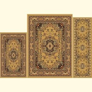 Details About Throw Rugs Brown 3 Piece Set Living Room Area Floor Mat Runner Ter Oriental