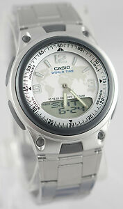 Casio-AW-80D-7A2-White-Databank-Watch-Steel-Band-World-Time-10-Year-Battery-New