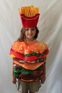 Boutique-Kids-Hamburger-French-Fries-Costume-One-Size-Burger-Boys-Girls-NEW