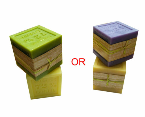 Lavender Olive Yellow Cream Square Scented Soap Candles Set Pack of Two Four