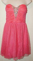 Trixxi Junior's Strapless Sparkle Formal Dress coral Hot Pink Size 9 $88