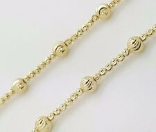NEW 14K YELLOW GOLD DIAMOND MOON CUT BALL BEAD ROUND WOMAN'S CHAIN NECKLACE 17""