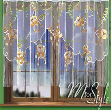 """String Net Curtain Monkeys Children Room W=114"""" (290cm), L= 61"""" (155cm) SLOT TOP"""