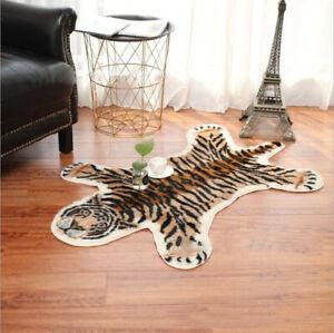 Animal Printed Zebra Leopard Tiger Cow Hide Faux Fur Rug Carpet Blanket Washable