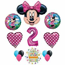 Item 2 Minnie Mouse 2nd Birthday Party Supplies And Pink Bow 13 Pc Balloon Decorations