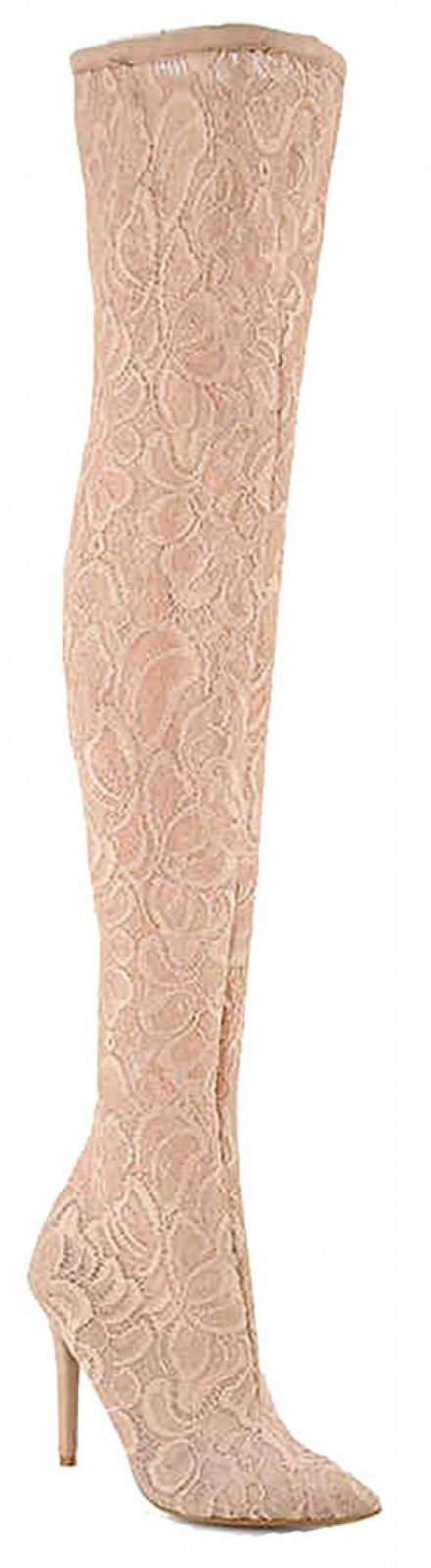 Anne Michelle Dedicate 22S femmes Floral Stetch Lace Over The Knee Pointy...