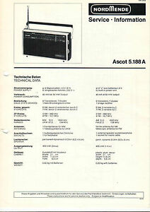 B2394 Aromatischer Geschmack Service Information Schaltbild Ascot 5.188 A Nordmende