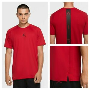 Nike-Jordan-Air-Men-039-s-Sz-Large-Short-Sleeve-Red-Training-Top