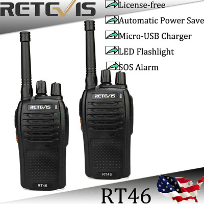4XRetevis RT46 SOS FRS 16CH Radio License-free Walkie Talkie VOX Monitor+cable