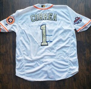 lowest price 63fc9 fb512 Details about CARLOS CORREA signed HOUSTON ASTROS GOLD 2017 WORLD SERIES  JERSEY w/ COA BECKETT