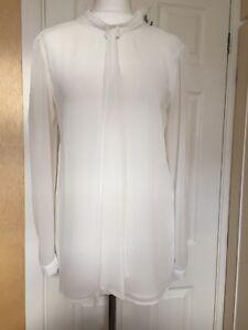 558fcbfe53c2d9 Zara TRAFALUC Size M UK10 White Tie Blouse long sleeved Excellent ...