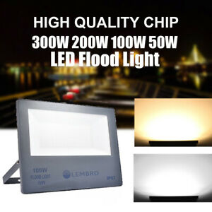 50 100 200 300W Outdoor Flood Light LED Sensor Garden Security Lamp Spotlight US