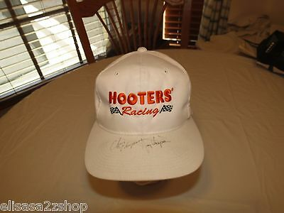 Hooters Racing Signed white hat cap RARE collectible restaurant Men's adjustable