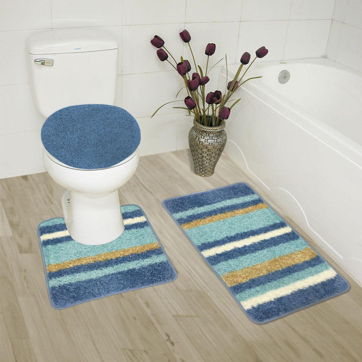 Abby 3 Piece Bathroom Rug Set Bath Mat Contour Lid Cover