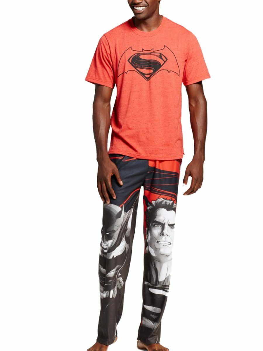 DC Comics Mens Superman 2 Piece Sleep Set Flannel Lounge Pants Pajama Shirt