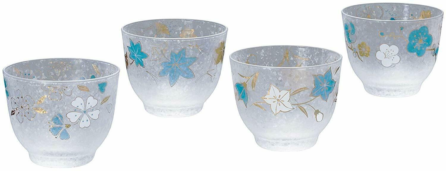 ADERIA Glassware Four Seasons Blau Cold Cold Cold Tea Glass Set of 4 S-6249 MADE IN JAPAN 5ecaeb