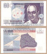 Italy 60 Lire 2016 E UNC SPECIMEN Test Note Banknote - Enrico Fermi Cobalt-60