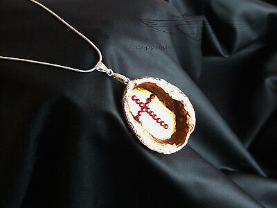 925er Silberkette mit Anhänger, Walnuss, versilbert, verkupfert, Blattgold,Kreuz