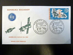 MADAGASCAR-AERIEN-144-FDC-COOPERATION-SPACIALE-USA-URSS-150-FMG-1974