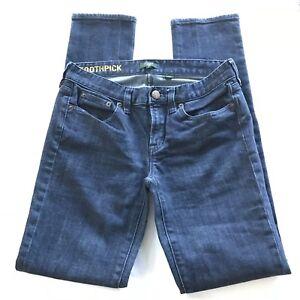 J-Crew-Women-039-s-Size-27-Toothpick-Stretch-Skinny-Leg-Jeans-Medium-Wash-Denim