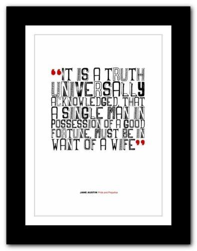 JANE AUSTIN Pride and Prejudice❤ typography book poster print inspirational #151