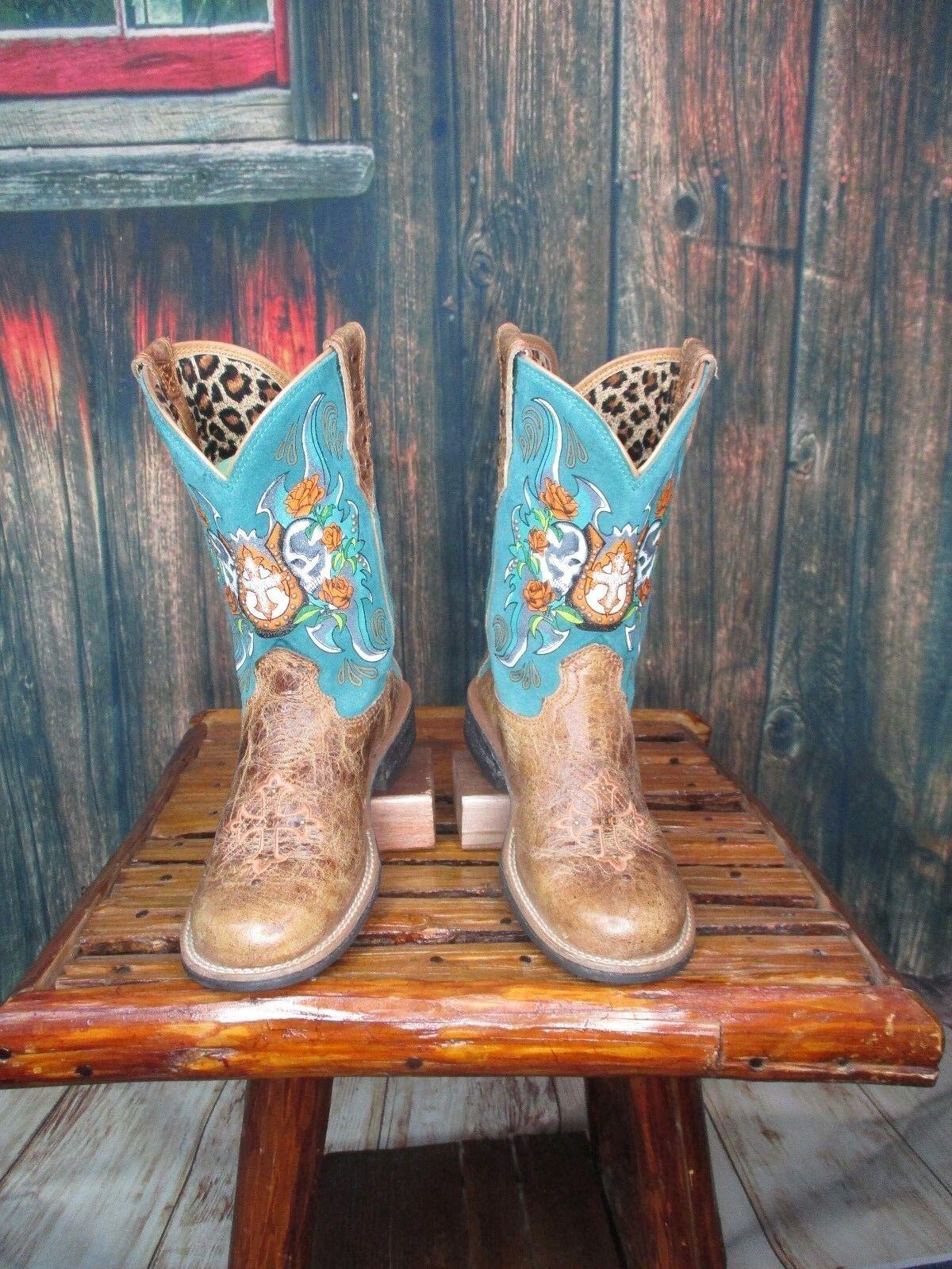 Ladies Ladies Ladies Distrssed Ariat Skull & Horshoe Detail Western Cowgirl Boots Sz 6.5B 6c5bb8