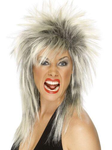 Rock Diva Wig 80s Mullet Punk Ladies Fancy Dress Costume Accessory