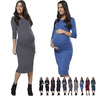 Zeta Ville Women/'s Maternity Skater Dress 3//4 Sleeves 525p