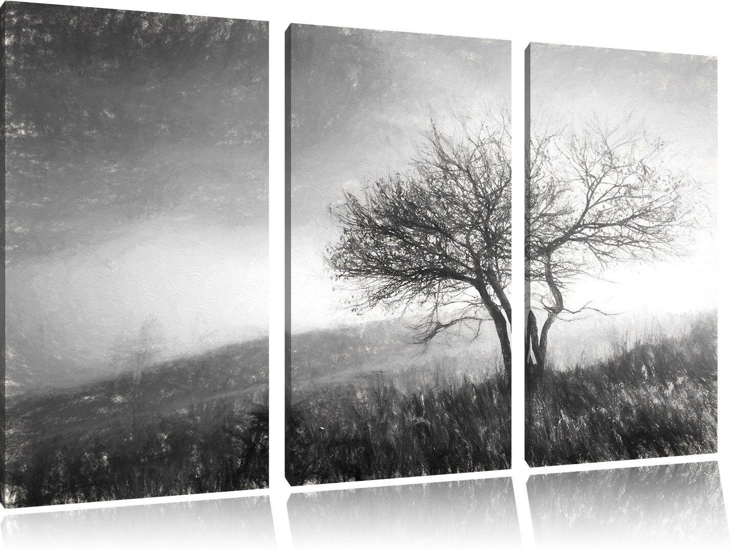 Baum in Paesaggio Carbone Effetto 3-Teiler Quadro su Tel Decorazione Parete