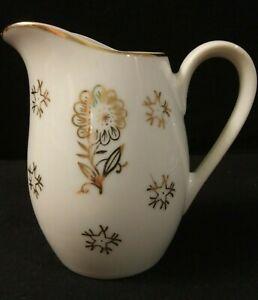 Vintage-Made-in-Japan-Marked-Porcelain-Creamer-Mini-Pitcher-Gold-Floral-amp-Trim