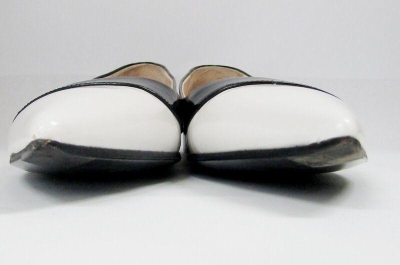 Prada Blanco Borde Borde Borde Negro dos tonos en Punta Bailarina Zapatos sin Taco 36.5 6.5 Italia ee6ccd