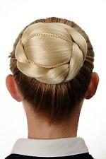 Aufwendig geflochten Haarknoten Dutt Haarteil Blond Platinblond N672-613