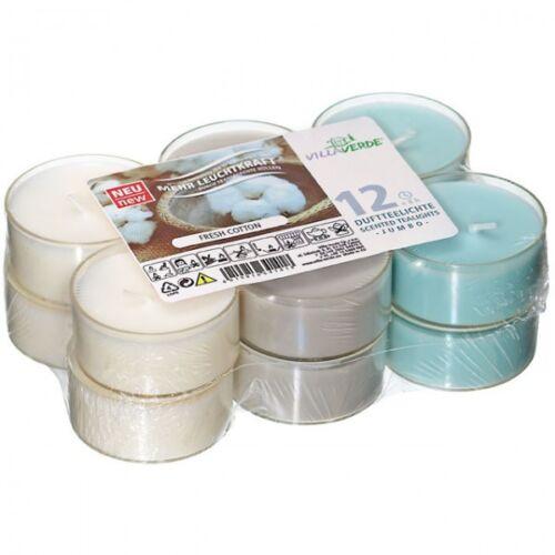 12er Set Villaverde Flatpack Jumbo Duft Teelicht Kerze transparente Hülle Deko