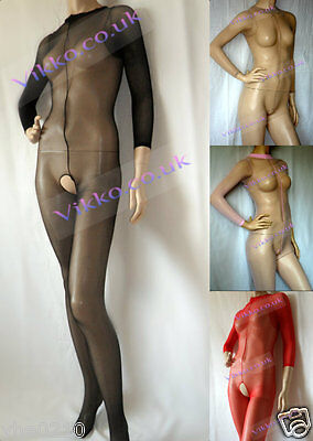 Unisex 15 Denier Full Sheer Long Sleeve Crotchless bodystockings B036