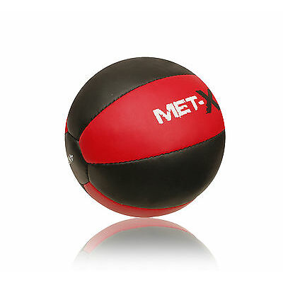 Met-X Medicine Ball Heavy Duty Rex Leather 4kg 8kg 10kg Fitness Gym Exercise