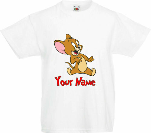 Cat Mouse Funny Cartoon Gifts Kids Tops Personalised Tom /& Jerry T-Shirt