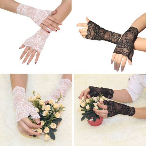 Bridal Wedding Perspective Short Lace Half Finger Party Dress Gloves 2 Colors CY